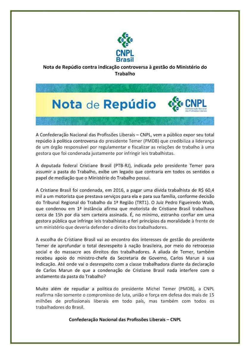 Nota de repudio CNPL 12.01