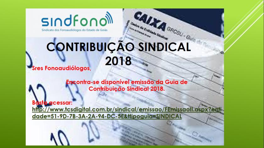 contribuição sindical 2018
